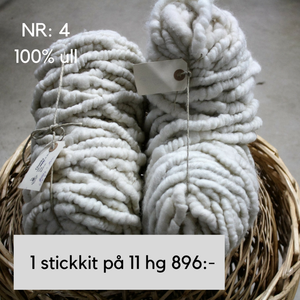 Ett stick-kit i 100% Chunky ull 11 hg naturvit. Passar till kuddar filtar m.m. Stickor nr 25 kan köpas till separat här för 200,