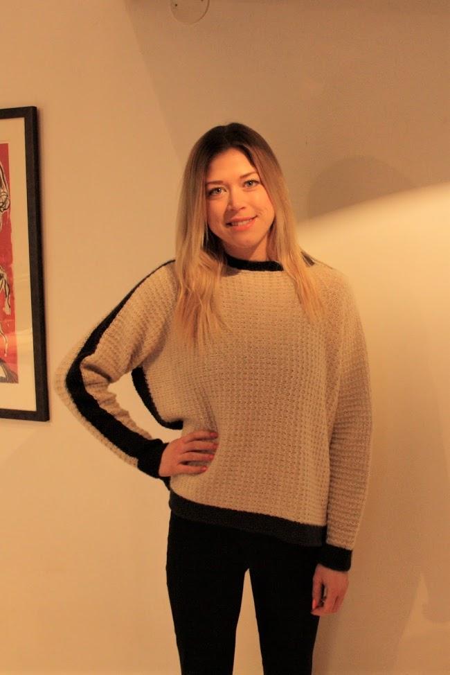 Heidi tvärstickad tröja i Acadia, stickkit