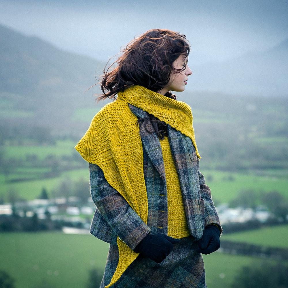 Ingwer sjal i Cumbria garn, stickkit
